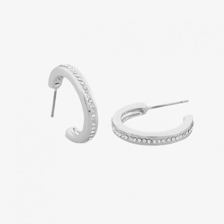 SNÖ OF SWEDEN VERTICAL OVAL EARRINGS SILVER