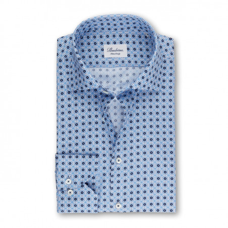 STENSTRÖMS BLUE FITTED BODY SHIRT WITH PATTERN