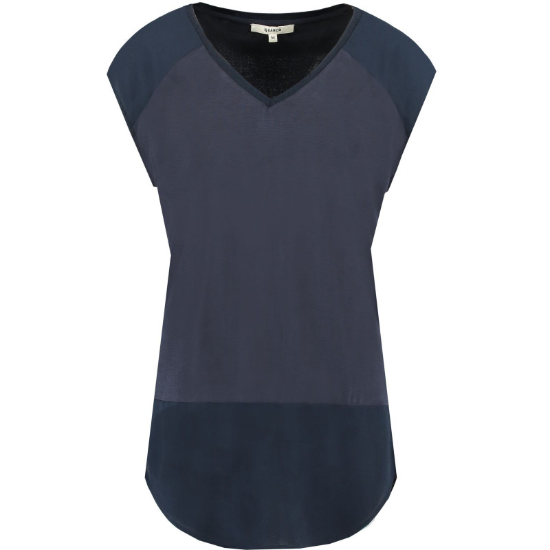 GARCIA DARK BLUE T-SHIRT WITH V-NECK, GARCIA, Dam