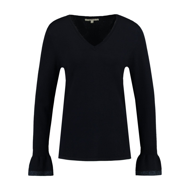 GARCIA DARK BLUE SWEATER WITH TRUMPET SLEEVE, GARCIA, Dam