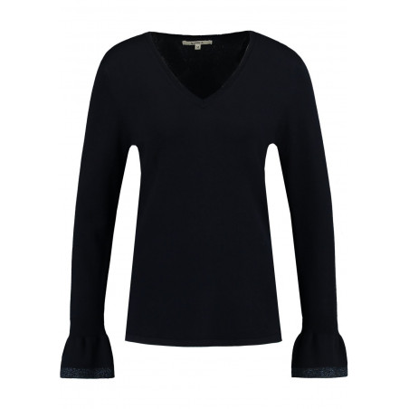 GARCIA DARK BLUE SWEATER WITH TRUMPET SLEEVE