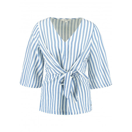 GARCIA STRIPED WRAP-OVER BLOUSE