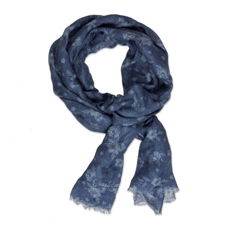 STENSTRÖMS BLUE TROPICAL FLOWER PATTERNED SCARF