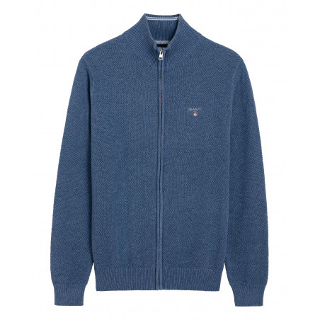 GANT COTTON PIQUE ZIP CARDIGAN - DENIM BLUE MEL, GANT, Herr