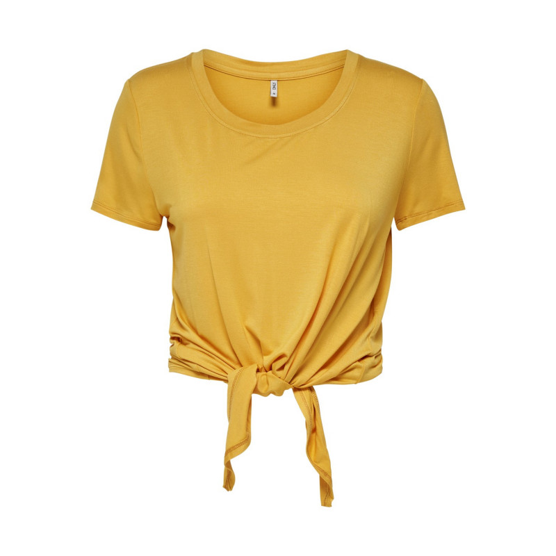 ONLY ARLI S/S KNOT TOP JRS NOOS - YOLK YELLOW, ONLY, Dam