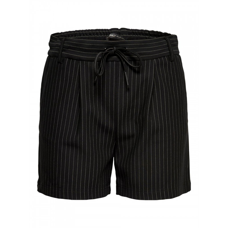 ONLY POPTRASH CLASSIC PINSTRIPE SHORTS - BLACK, ONLY, Dam
